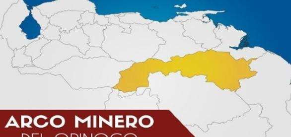 ubicación de la zona del Arco Minero en Venezuela