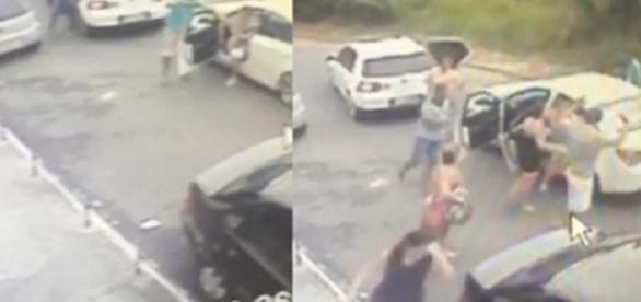Câmeras de segurança registraram o momento do assalto