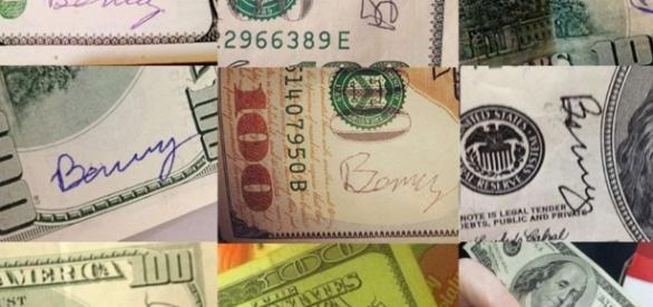 Imagem das notas doadas por norte americano