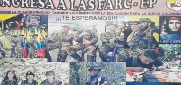 Der Zettel fordert zum Eintritt in die FARC auf, die sich angeblich demobilisiert.