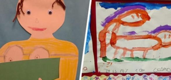 Desenhos feito por crianças que confundem