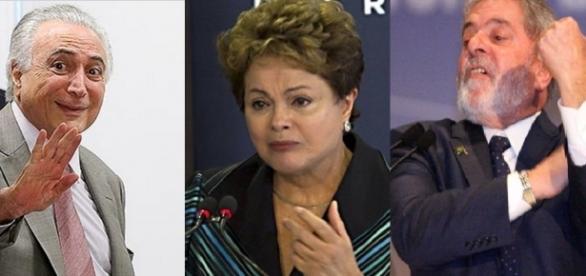 Temer, Dilma e Lula - Foto/Montagem: Google