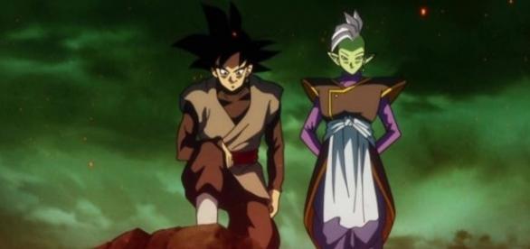 Zamasu y Zamasu en el cuerpo de Goku