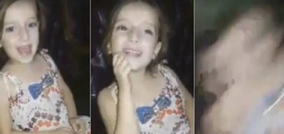 Criança foi surpreendida por bombardeio (Foto: Reprodução)