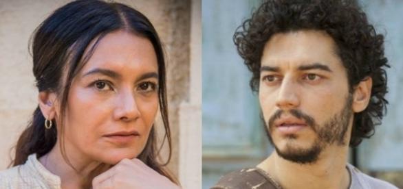 Beatriz e Martim em Velho Chico, conversam sobre a transferência da professora