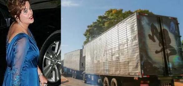 Caminhões despejam Dilma - Foto/Reprodução
