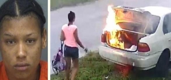 Ela estava tão louca de raiva, que incendiou o carro de um desconhecido