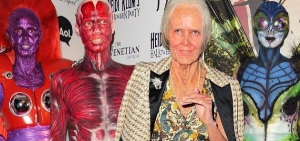 Einige von Heidi Klums bisherigen Halloween Kostümen, rechts Heidi Klum 2013 an Halloween
