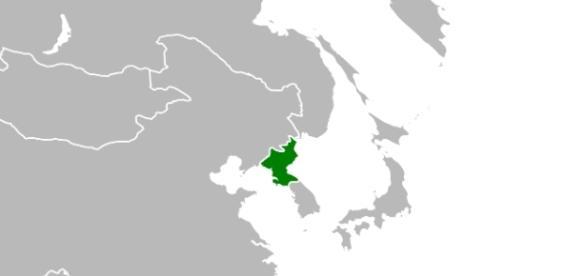 North Korea (in green) / Photo via Zuanzuanfuwa, Own work
