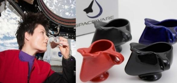 La taza espacial de porcelana a un costo de 74.95 dólares cada una, se oferta en dos tonos de negro, o azul brillante. Foto: SPACEWARE