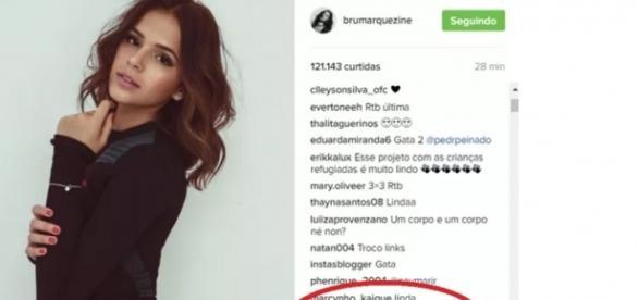 A foto de Bruna Marquezine e o comentário de Neymar