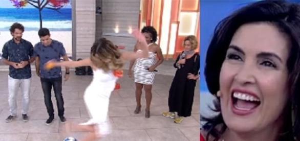 """Ana Furtado paga mico no """"Encontro"""" (foto: reprodução TV Globo)"""