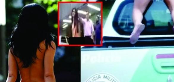 Mulher nua rouba carro de polícia em filmagem bizarra
