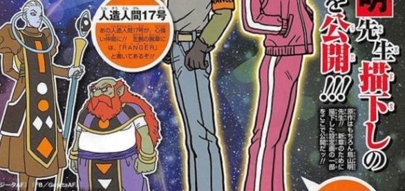 nuevo dios destructor junto a su angel guardian y las vestimenta de los androides 17 y 18