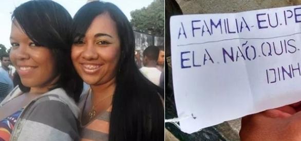 Na primeira imagem as duas mulheres encontradas mortas, e ao lado o bilhete deixado pelo assassino.