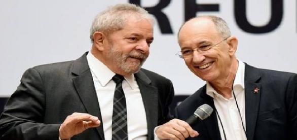 Ex-presidente Lula e Rui Falcão, presidente do PT