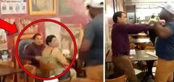 Homem leva uma surra dentro de restaurante