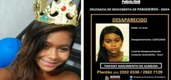 Na primeira imagem a menina que foi levada pelo criminoso, ao lado o cartaz de desaparecido da Polícia Civil.