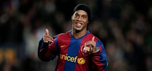 Ronaldinho quando atuava no Barcelona