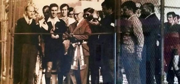 Foto storica dell'inaugurazione del campo sportivo a Solarino