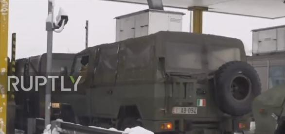Italy earthquakes military respond in snow conditions photo screencap from Ruptly via Youtube