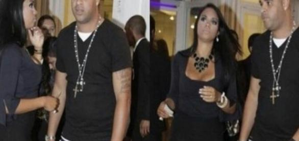 Mayara com o jogador Adriano em uma de suas festinhas - Reprodução/Blog Leo Dias