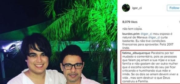 Elogio de seguidora no perfil de Igor no Instagram