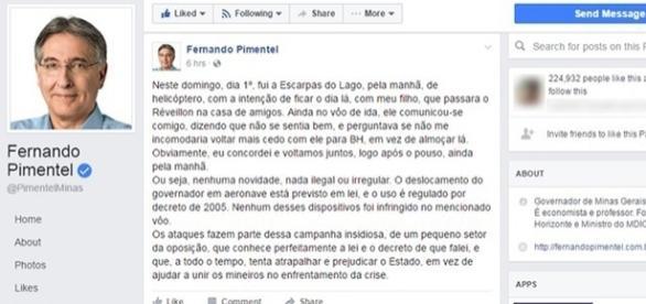 Governador faz post se explicando sobre uso de helicóptero (foto: reprodução Facebook)