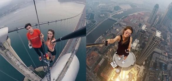 A jovem russa Angela Nikolau tira foto nas alturas - Reprodução
