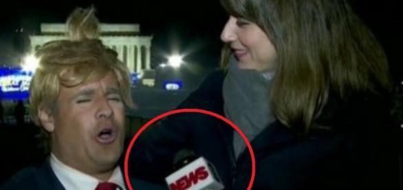 Repórter Vesgo, do Pânico, prega peça em jornalista, ao vivo