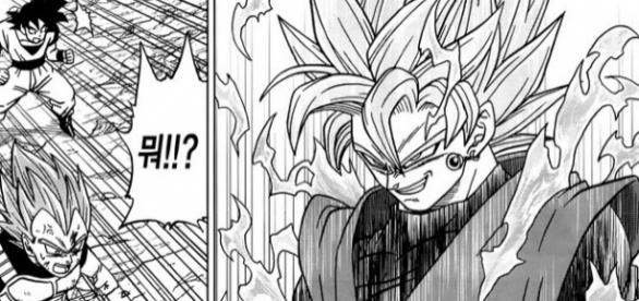 Black transformado en super saiyajin Rose en el manga