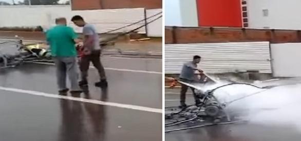 Poste caiu em estrada, na capital Rio Branco