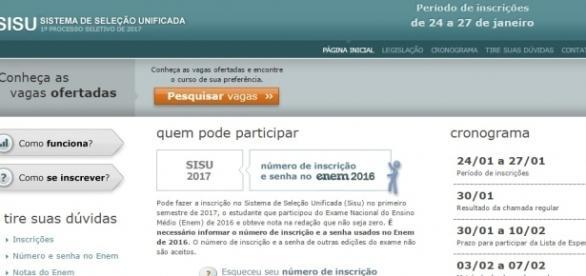 Vagas do Sisu 2017 já estão disponíveis para consulta