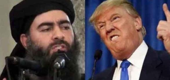 Imagem de Donald Trump contra o líder supremo do Estado Islâmico
