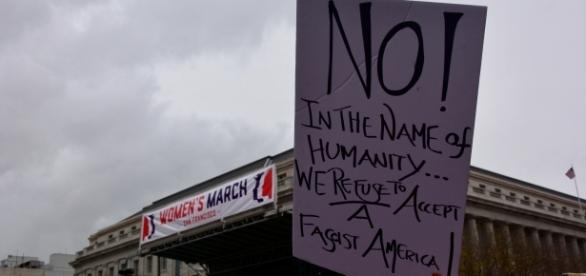 A sign at the San Francisco Women's March. Protesters appeared by the hundreds of thousands on Saturday to make their voices heard on women's rights.