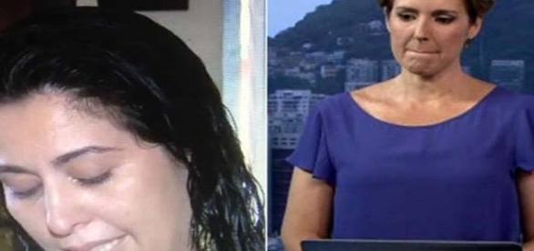 Jornalista se emociona ao dar notícia (foto: reprodução TV Globo)