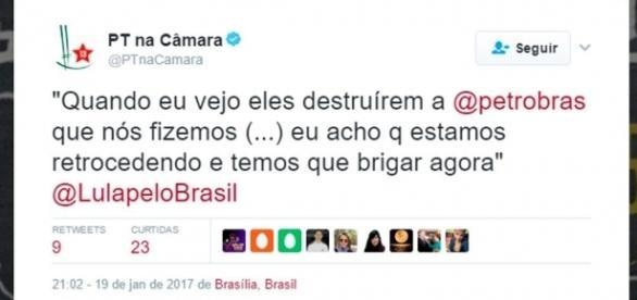 Publicação do Twitter do PT sobre a Petrobras