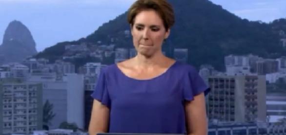 Renata Capucci chora, ao vivo, na Globo