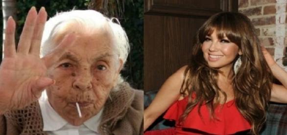 Thalia e sua avó - Foto: Divulgação/Televisa