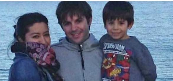 Adriana com o marido e o filho