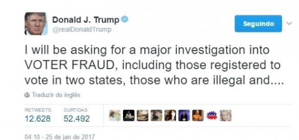 Donald Trump pede investigação sobre eleições americanas (Foto: Reprodução/Twitter/Donald J. Trump)