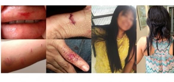 Professora foi espancada, torturada e teve o cabelo cortado (Foto: Fotomontagem/G1)