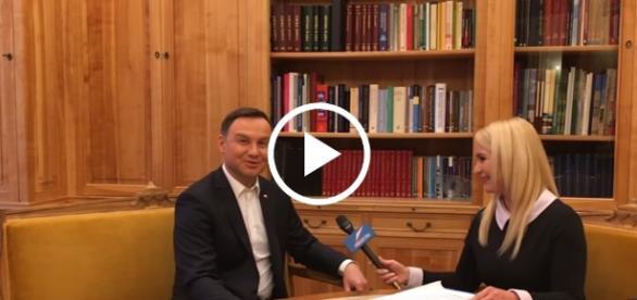 Prezydent Andrzej Duda w czasie wywiadu.