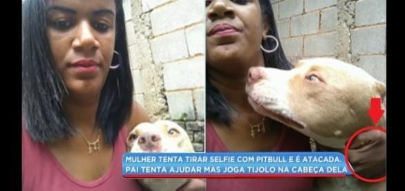 Janaína foi atacada pelo cão ao tentar fazer uma selfie