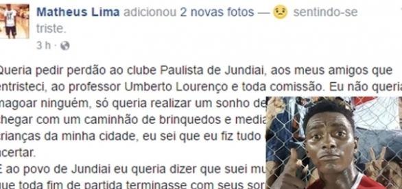 Pelo Facebook, jogador pediu perdão ao time e a cidade