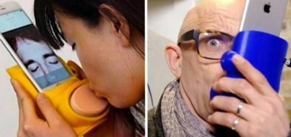 Através de sensores conectados ao dispositivo, os amantes conseguem se beijar à distância