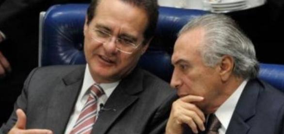 Renan Calheiros e o presidente Michel Temer