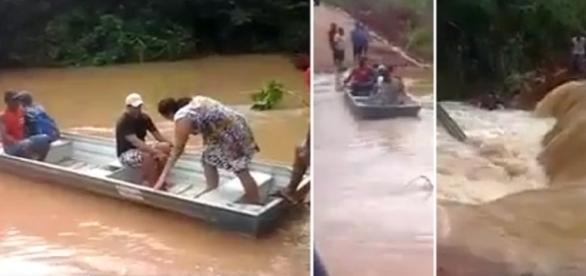 Barco vira e passageiros caem na água.