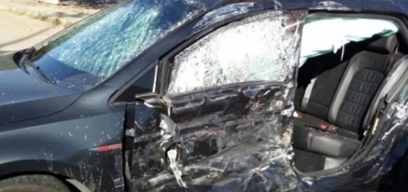 Filho de Fátima Bernardes se envolve em grave acidente. (foto: Folha de Lagos)