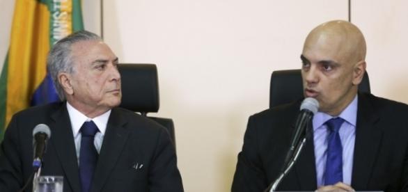 Presidente Michel Temer e ministro Alexandre Moraes